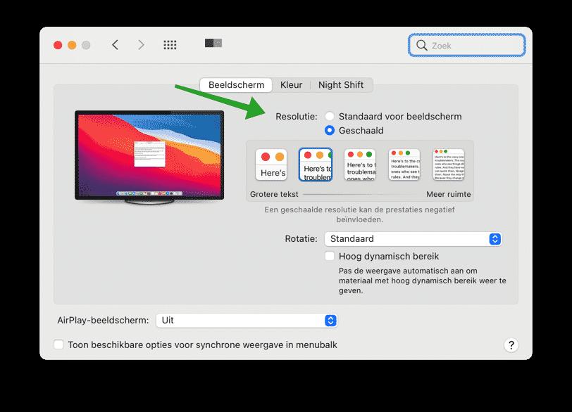 Lettertype grootte wijzigen met schermresolutie mac