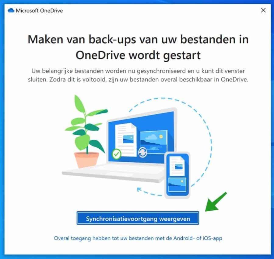 Maken van back-ups van uw bestanden in OneDrive wordt gestart