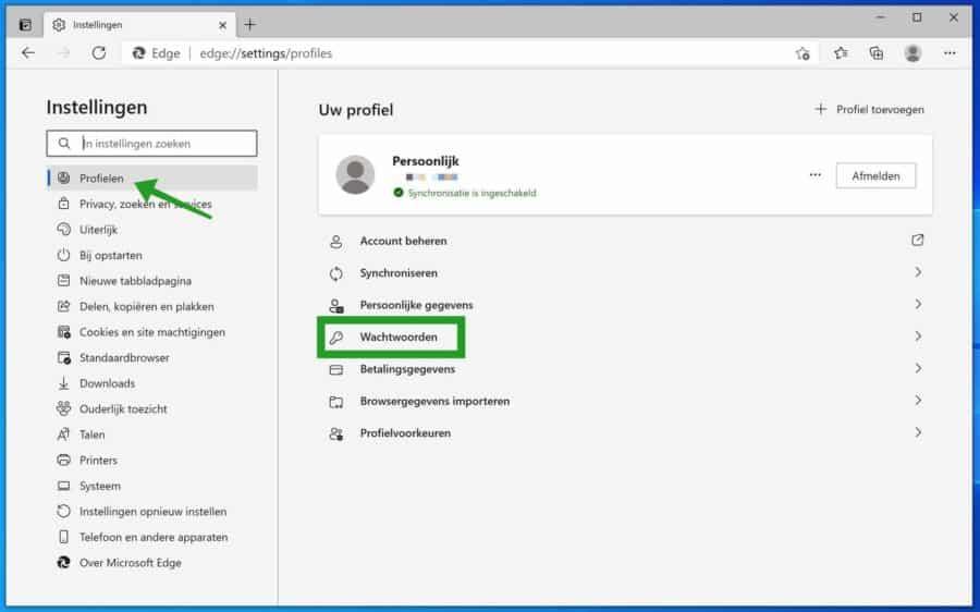 Microsoft Edge wachtwoorden instellingen