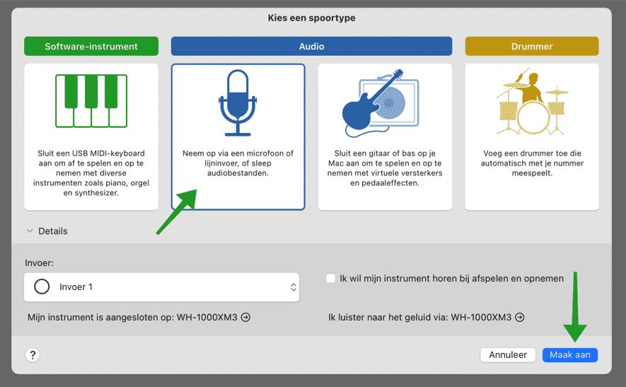 Neem op via een microfoon of lijninvoer audio op mac