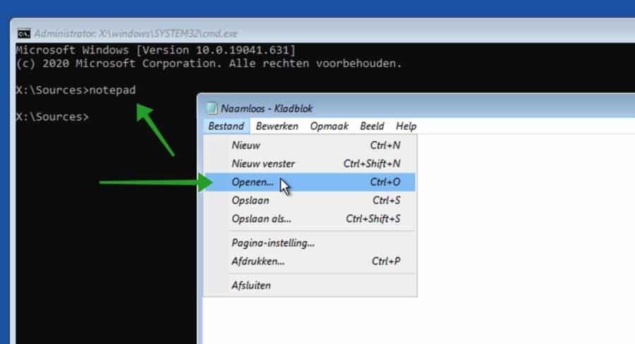 Notepad openen in Computer herstellen opties