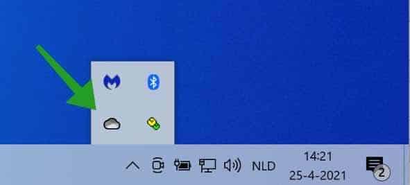 OneDrive snelkoppeling in Windows systeemvak