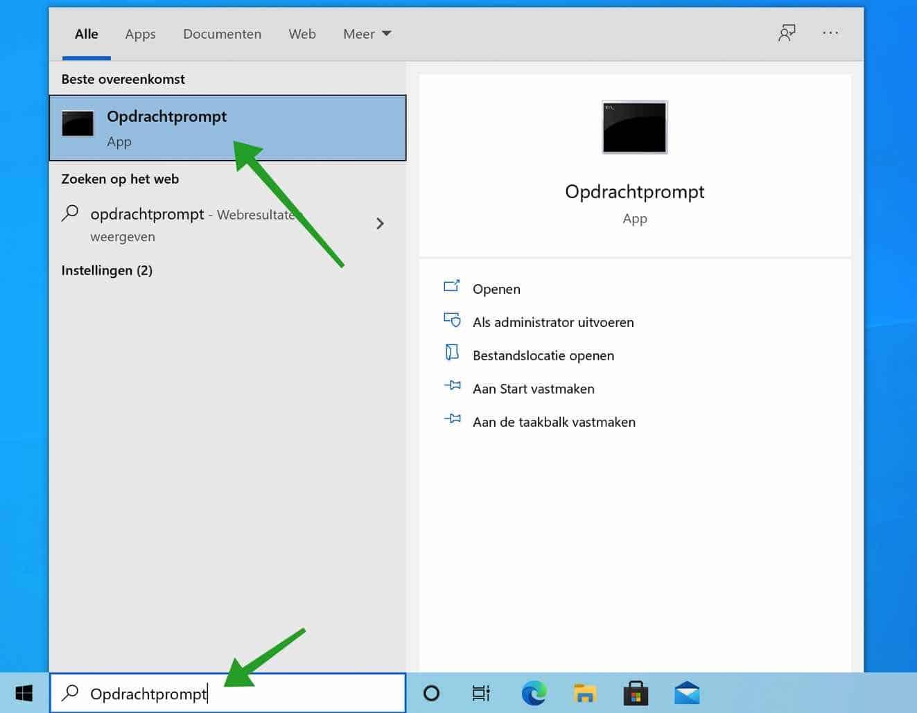 Opdrachtprompt openen in Windows 10