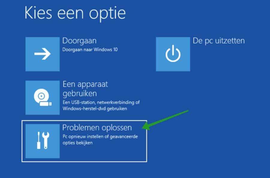 Problemen oplossen opties Windows