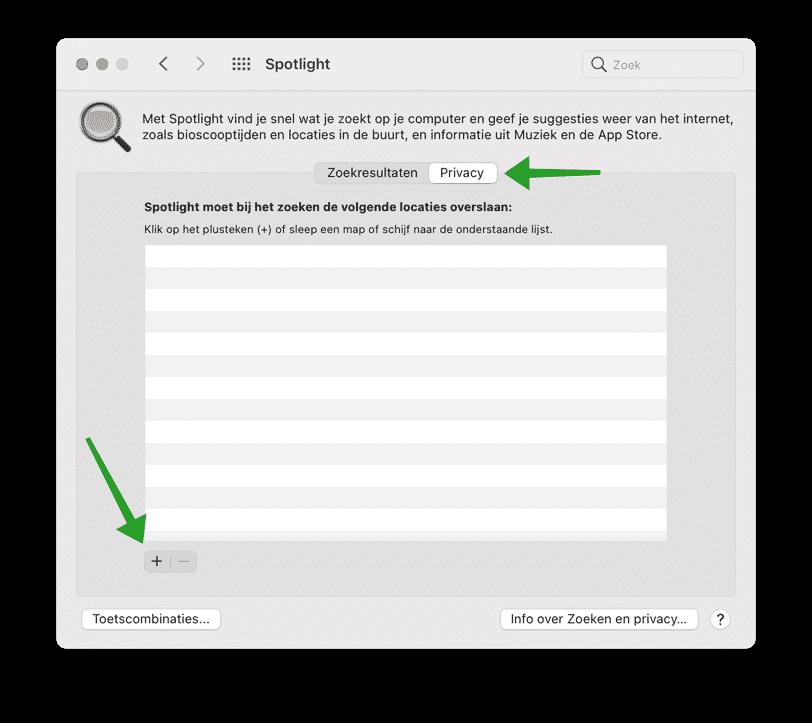 Bestanden of mappen uitsluiten van Spotlight zoeken op Mac