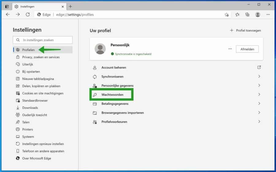 Sterke wachtwoorden melding uitschakelen in Microsoft Edge