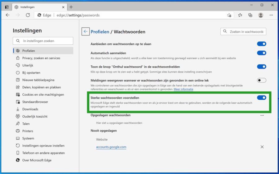 Sterke wachtwoorden voorstellen inschakelen in Microsoft Edge