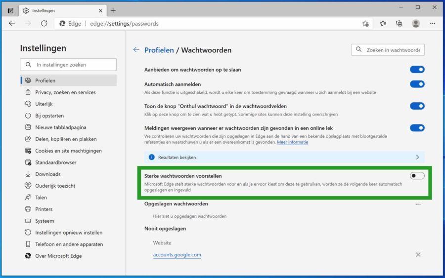 Sterke wachtwoorden voorstellen uitschakelen in Microsoft Edge