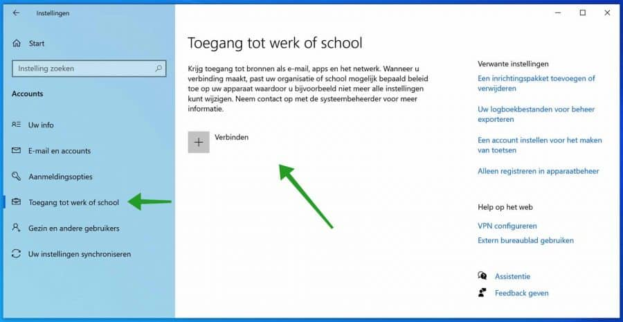 Toegang tot werk of school account verwijderen in Windows