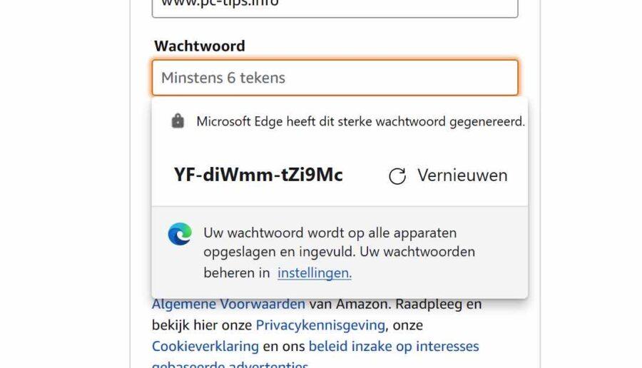 Wachtwoord suggestie in- of uitschakelen in Microsoft Edge