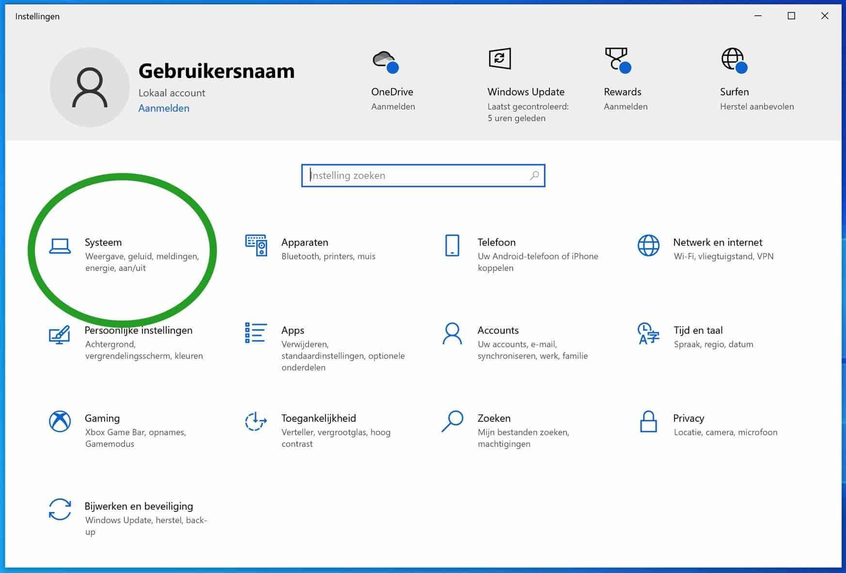 Windows systeem instellingen openen
