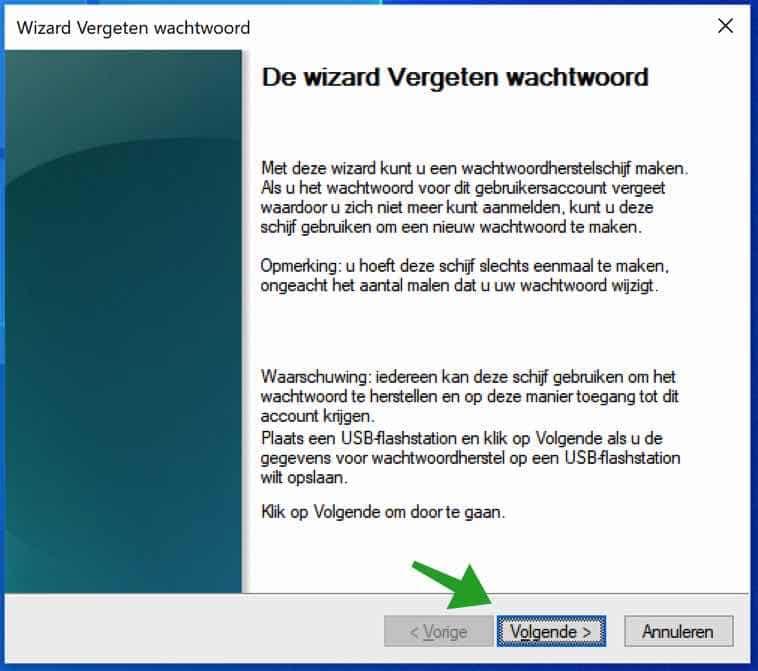 Wizard vergeten wachtwoord