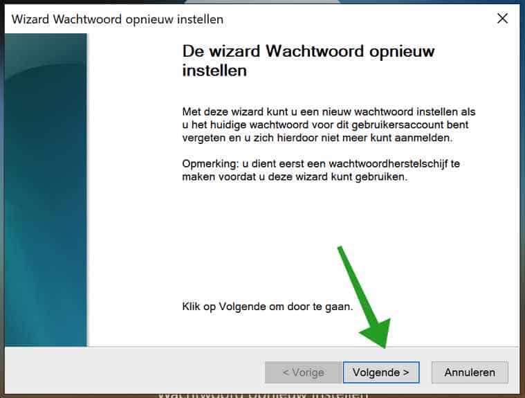 Wizard wachtwoord opnieuw instellen