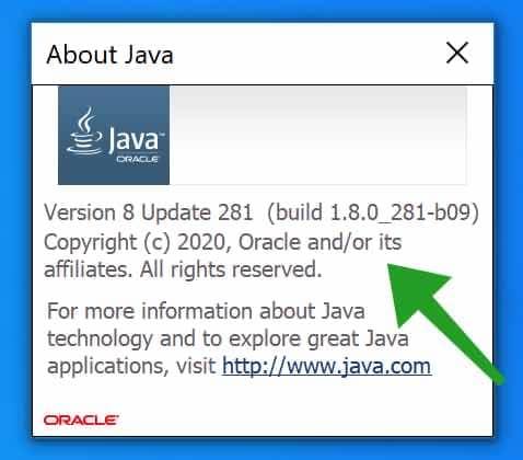 java versie en versienummer informatie