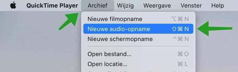nieuwe audio-opname met QuickTime Player