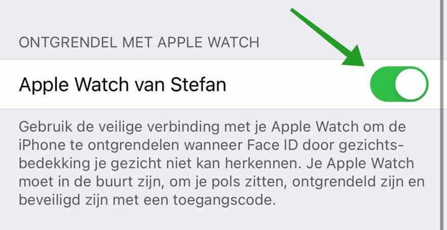 ontgrendel iphone met apple watch bij mondkapje