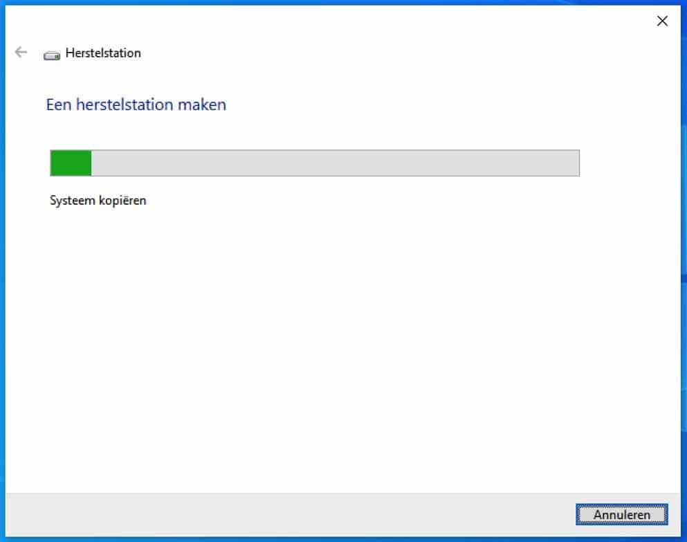 systeembestanden kopieren naar USB herstelschijf