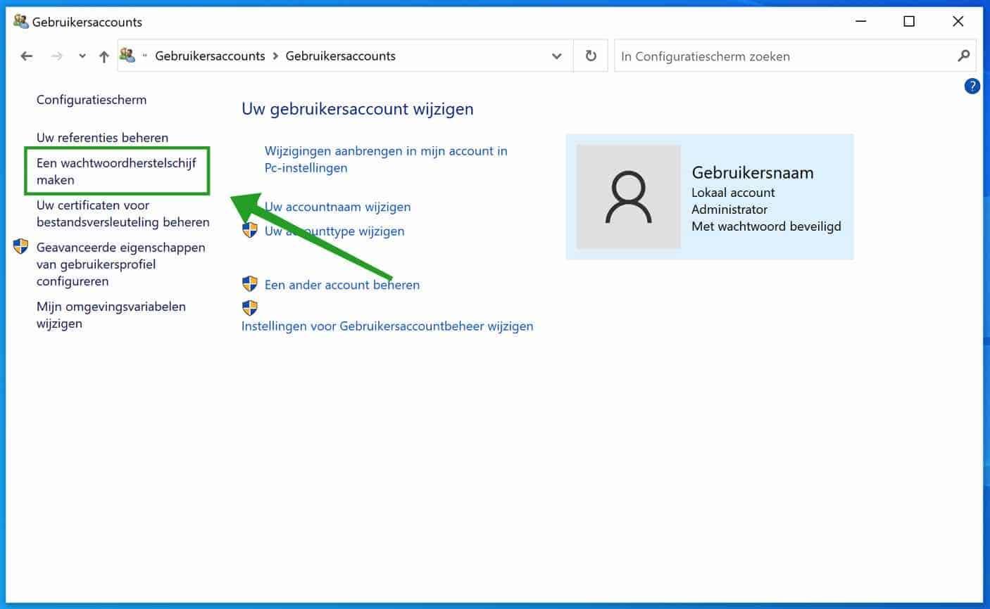 wachtwoord herstelschijf aanmaken in windows