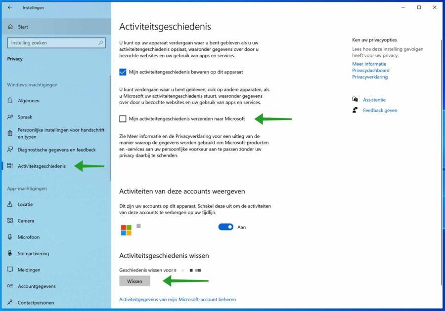 Activiteitsgeschiedenis wissen in Windows