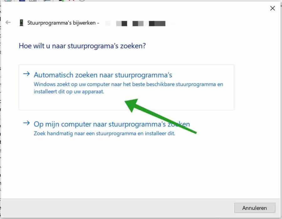 Automatisch zoeken naar stuurprogrammas