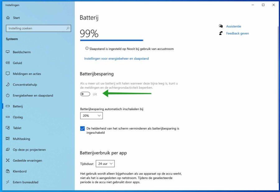 Batterij besparen in Windows 10 met batterijbesparing instellingen