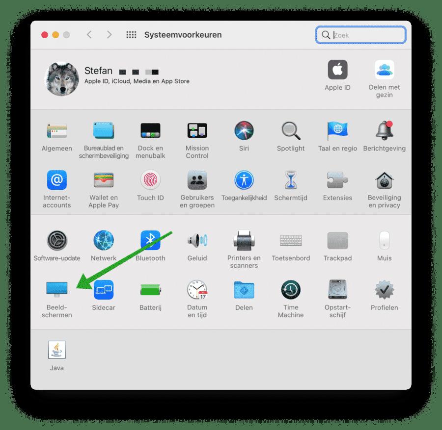 Beeldscherm instellingen mac