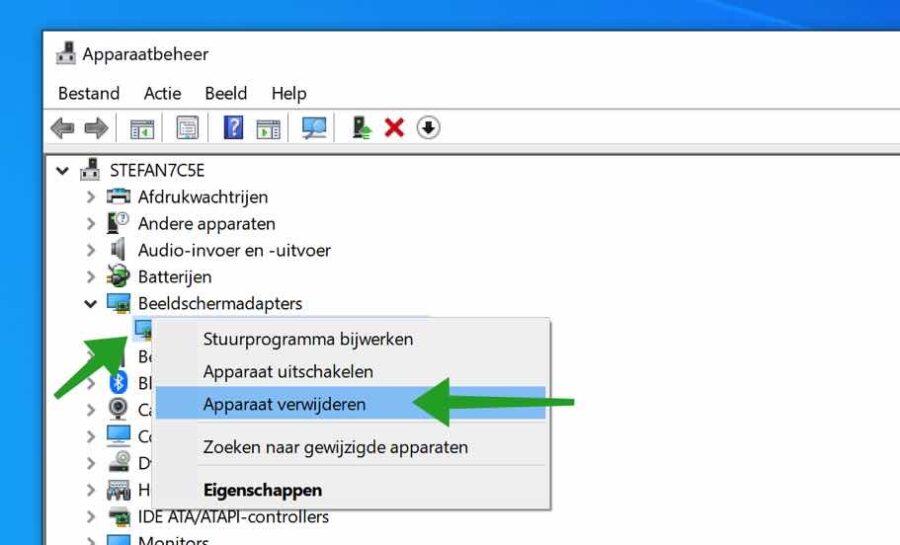 Beeldscherm stuurprogramma verwijderen in Windows