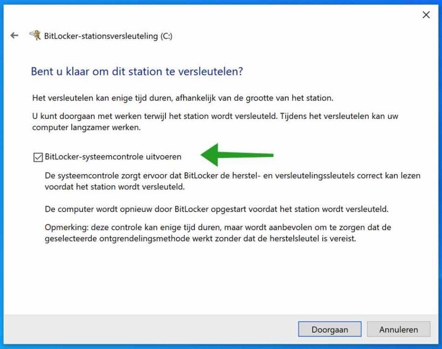 Bitlocker systeemcontrole uitvoeren