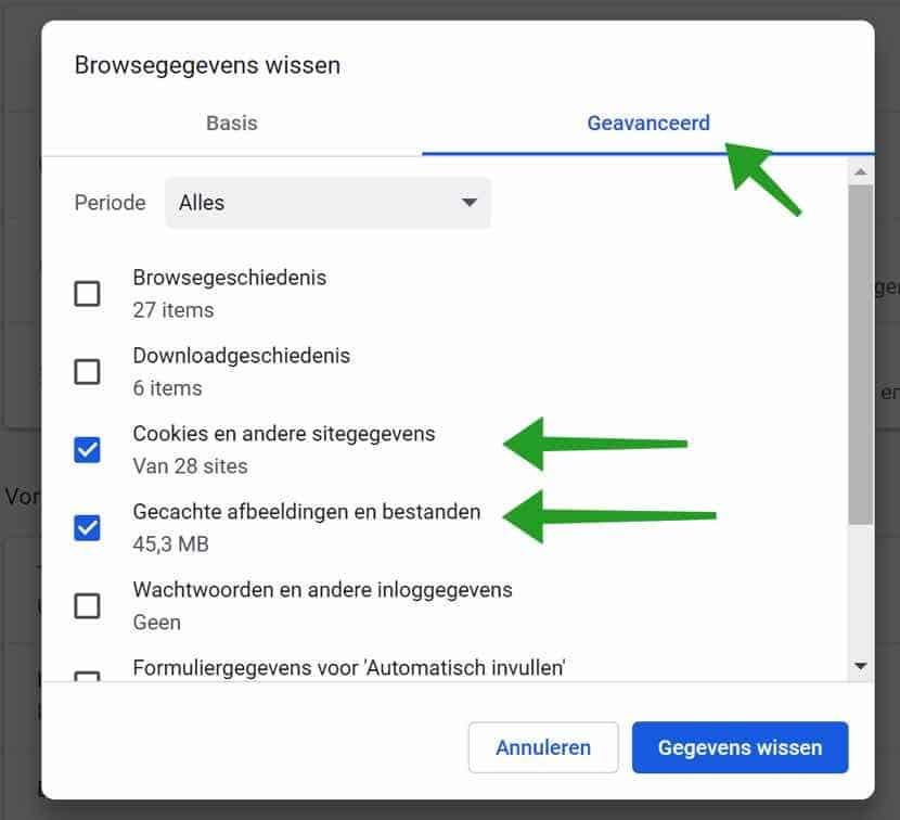 Browsegegevens verwijderen in Google Chrome