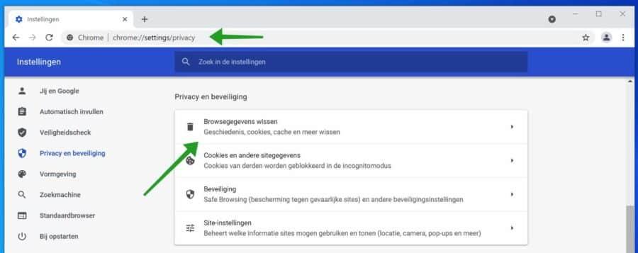 Browsegegevens wissen in Google Chrome