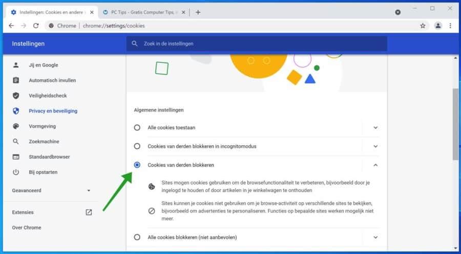 Cookies van derden blokkeren in Google Chrome