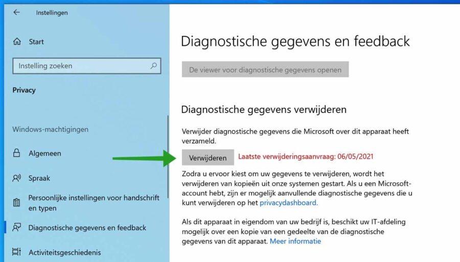 Diagnostische gegevens verwijderen in Windows