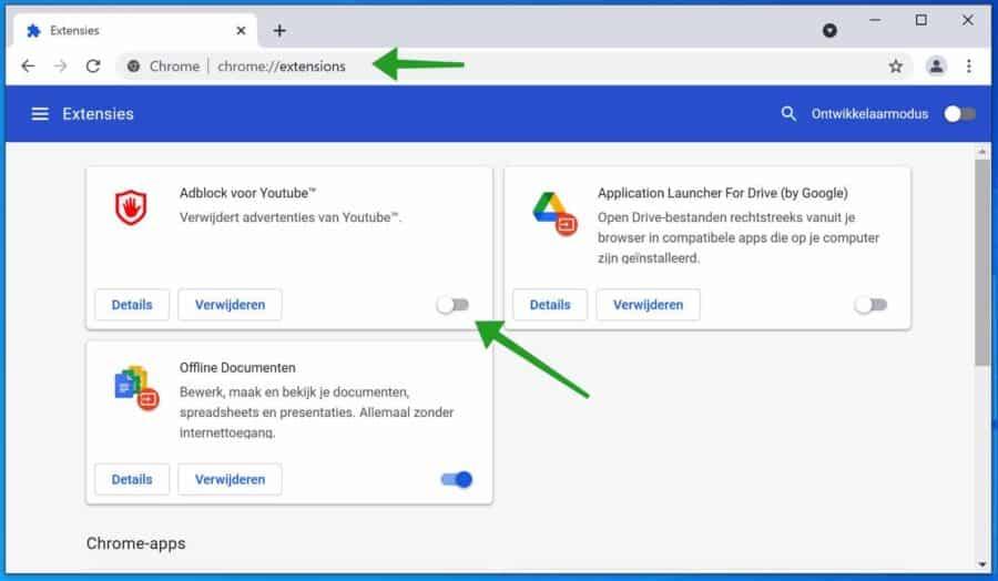 Extensies uitschakelen in Google chrome