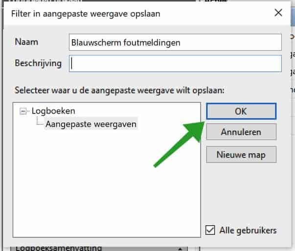 Filter omschrijving in event viewer logboeken windows