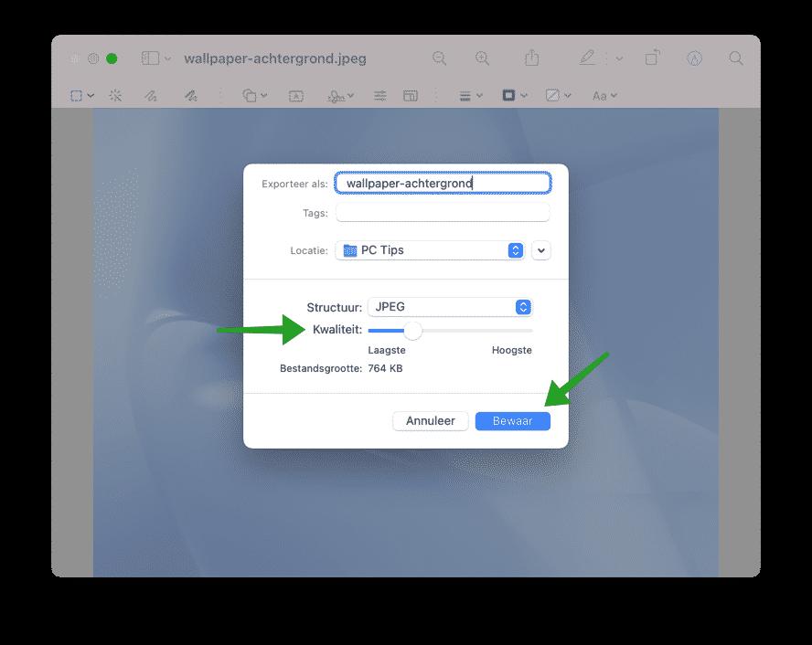 Kwaliteit en compressie wijzigen met voorvertoning op mac