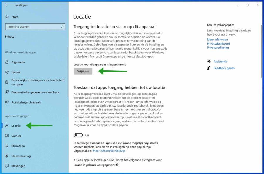 Locatie instellingen uitschakelen in Windows