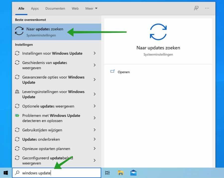 Naar updates zoeken in Windows
