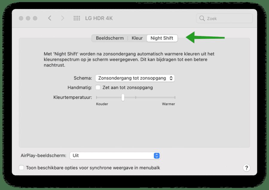 Nigh Shift instellingen mac