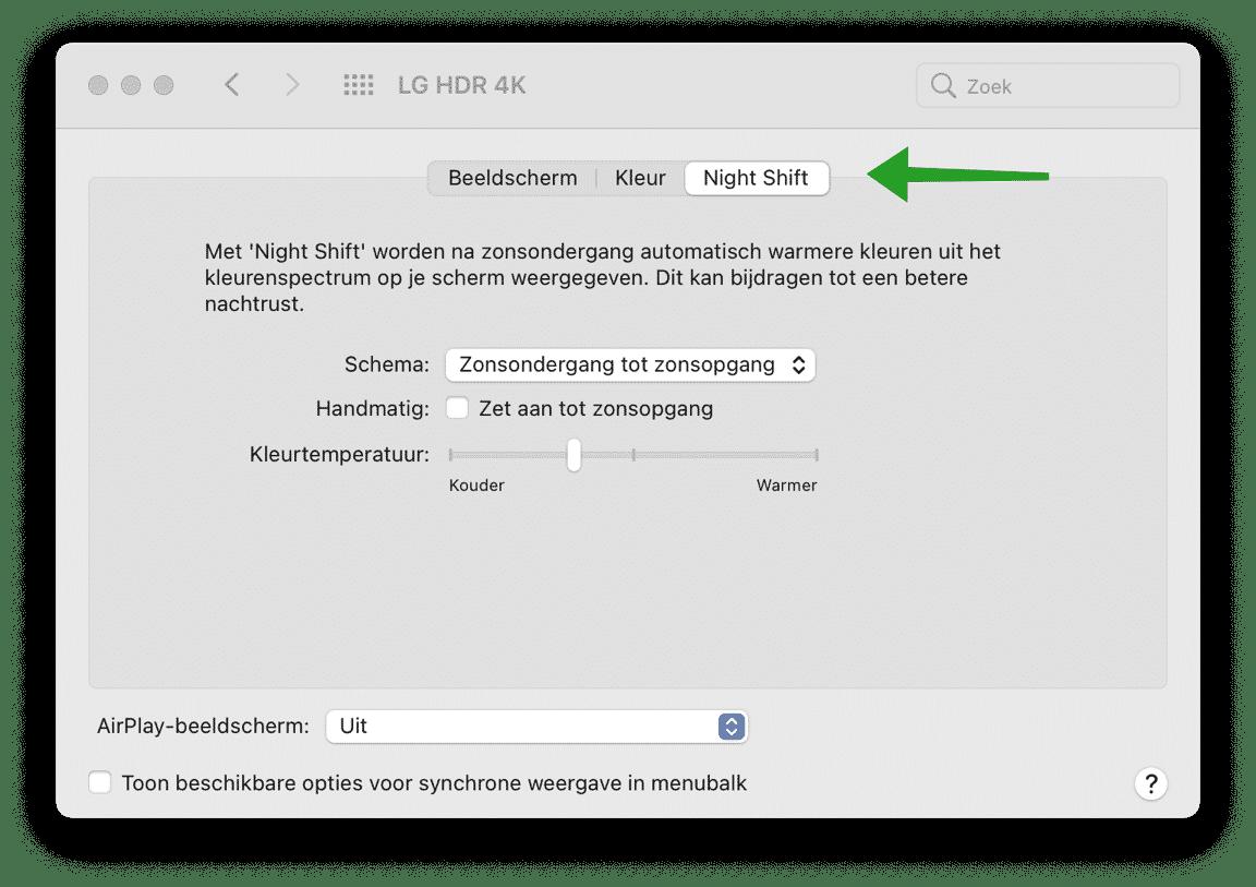 Night Shift in- of uitschakelen op uw Mac, iPhone of iPad