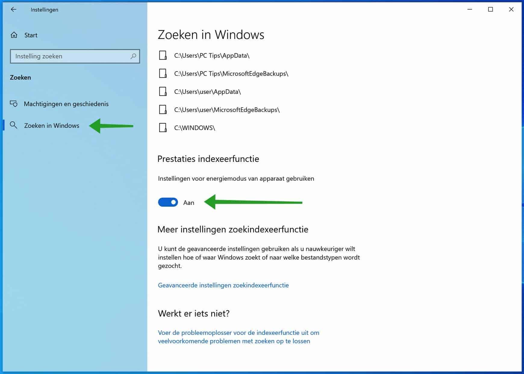 Indexeren en zoeken beperken in Windows om CPU te besparen
