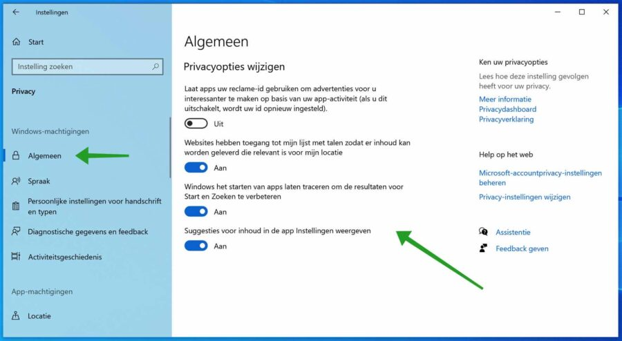 Privacyopties wijzigen in Windows