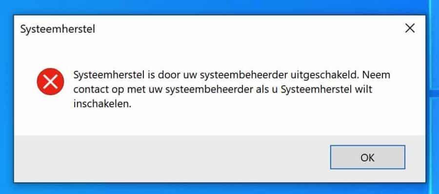 Systeemherstel is door uw systeembeheerder uitgeschakeld