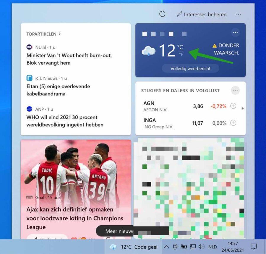Temperatuur eenheid wijzigen in Weer Locatie aanpassen in Nieuws en interesses