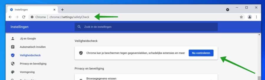 Veiligsheidscheck uitvoeren in Google Chrome