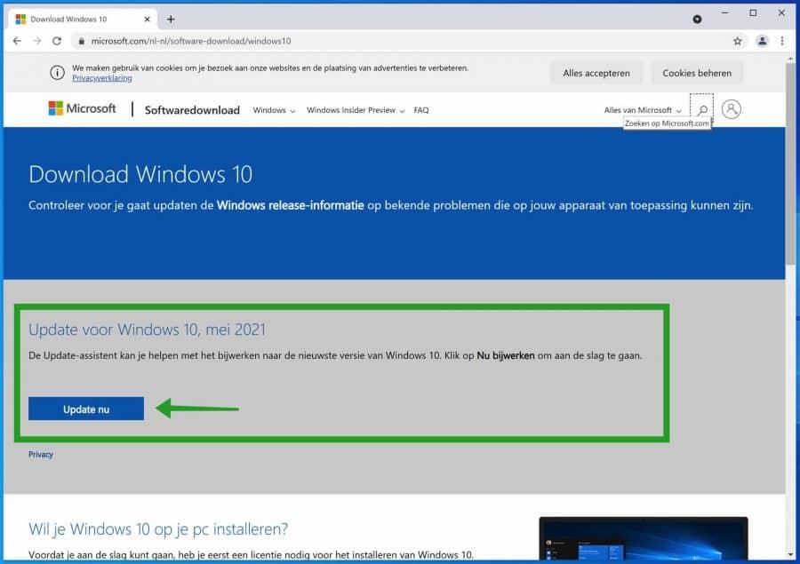 Windows update assistent downloaden