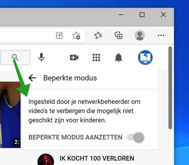 Youtube Beperkte modus geforceerd in Microsoft Edge