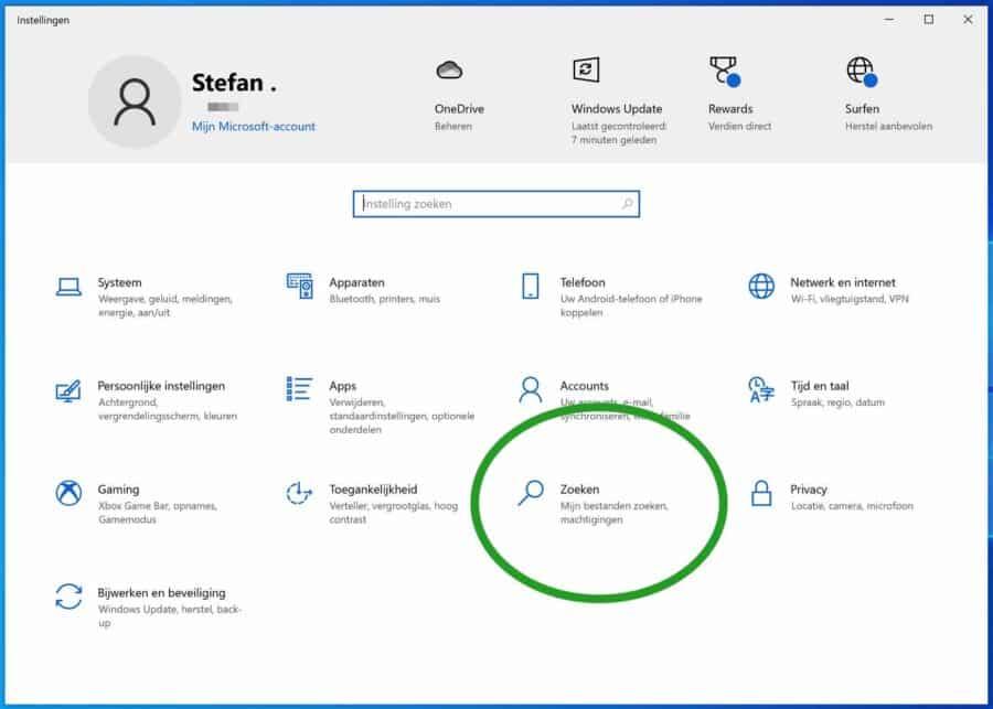 Zoek instellingen in Windows