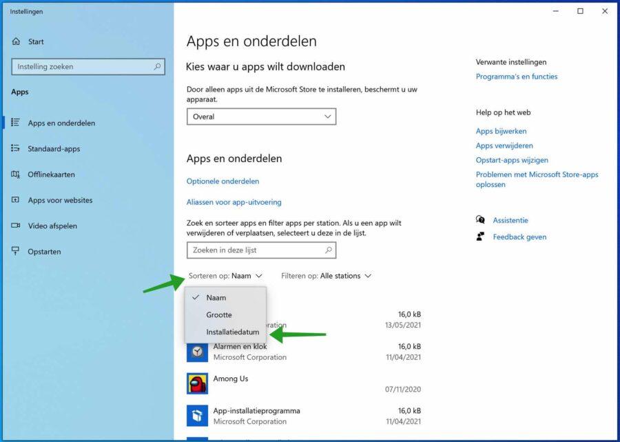 apps sorteren op installatiedatum