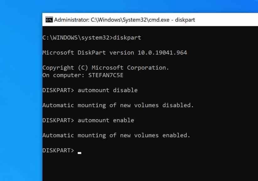 automount windows 10