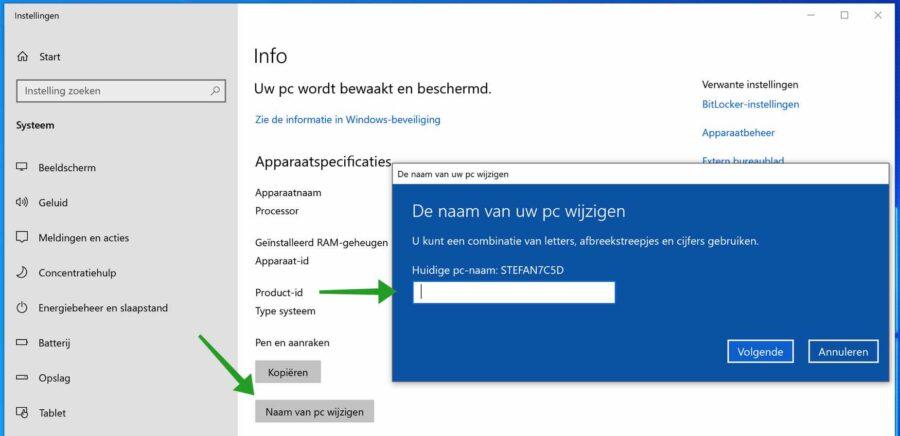 computernaam wijzigen in windows